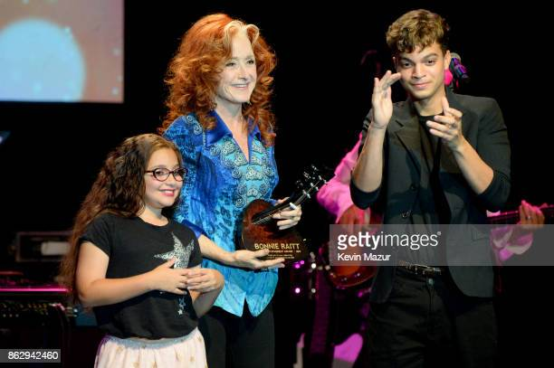 Honoree Bonnie Raitt speakss onstage during the Little Kids Rock Benefit 2017 at PlayStation Theater on October 18 2017 in New York City