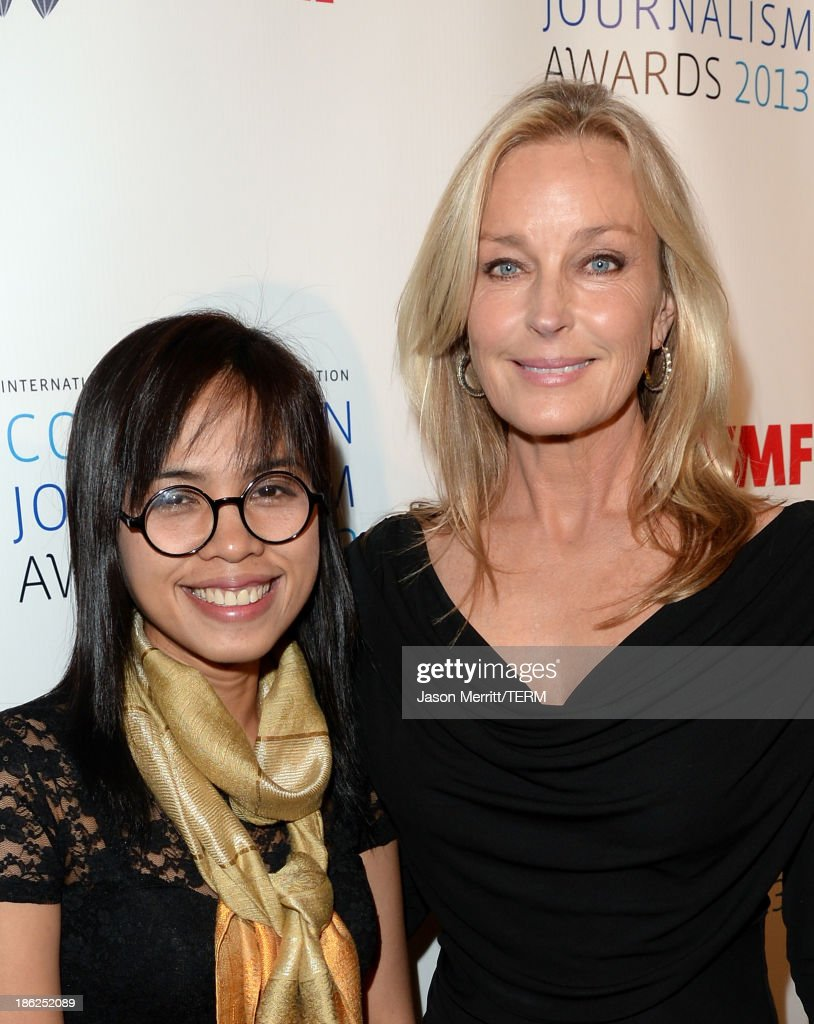Honoree Bopha Phorn (L) and actress <a gi-track='captionPersonalityLinkClicked' href=/galleries/search?phrase=Bo+Derek&family=editorial&specificpeople=204653 ng-click='$event.stopPropagation()'>Bo Derek</a> attend the International Women's Media Foundation's 2013 Courage in Journalism Awards at the Beverly Hills Hotel on October 29, 2013 in Beverly Hills, California.
