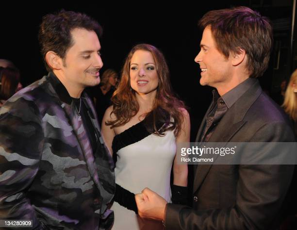 Honoree Brad Paisley Kimberly Williams Paisley and Host Rob Lowe attend the 2011 CMT Artists of the year celebration at the Bridgestone Arena on...