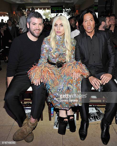 Honoree Brandon Maxwell honoree Lady Gaga and V Magazine editorinchief Stephen Gan attend The Daily Front Row 'Fashion Los Angeles Awards' 2016 at...