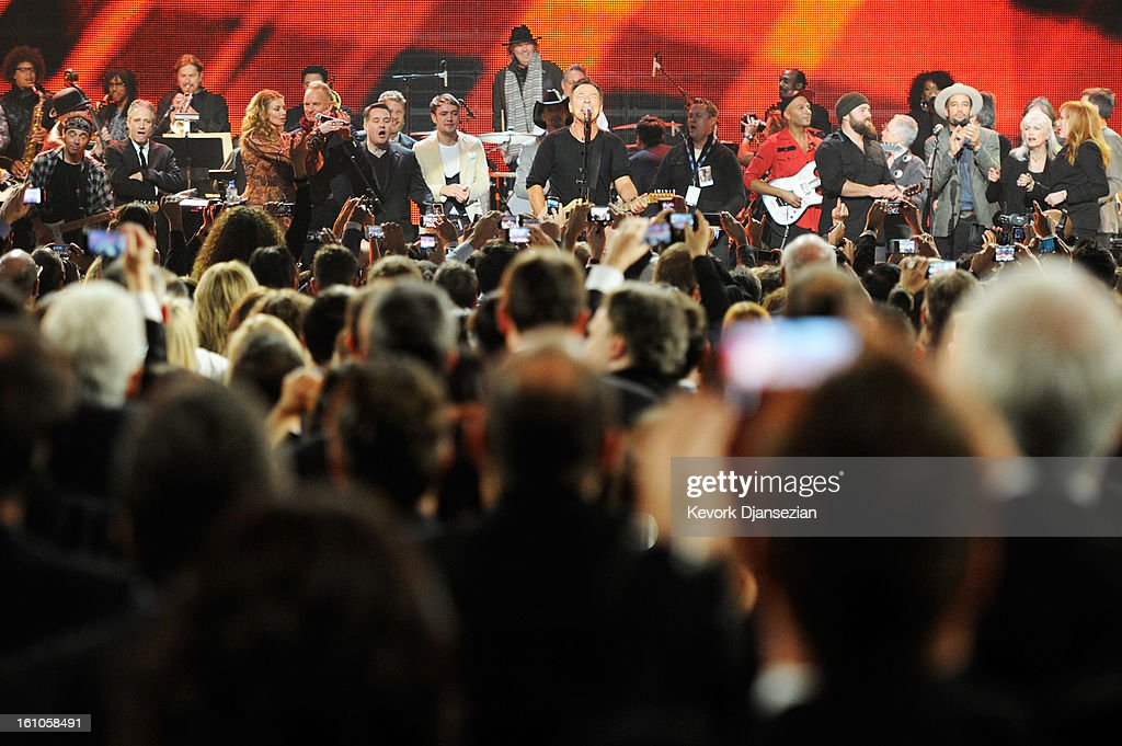 Honoree <a gi-track='captionPersonalityLinkClicked' href=/galleries/search?phrase=Bruce+Springsteen&family=editorial&specificpeople=123832 ng-click='$event.stopPropagation()'>Bruce Springsteen</a> (C) and guests perform onstage at The 2013 MusiCares Person Of The Year Gala Honoring <a gi-track='captionPersonalityLinkClicked' href=/galleries/search?phrase=Bruce+Springsteen&family=editorial&specificpeople=123832 ng-click='$event.stopPropagation()'>Bruce Springsteen</a> at Los Angeles Convention Center on February 8, 2013 in Los Angeles, California.