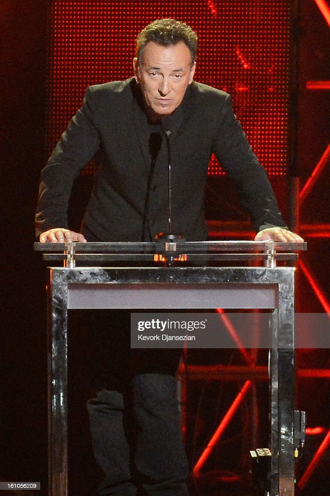 Honoree <a gi-track='captionPersonalityLinkClicked' href=/galleries/search?phrase=Bruce+Springsteen&family=editorial&specificpeople=123832 ng-click='$event.stopPropagation()'>Bruce Springsteen</a> speaks onstage at The 2013 MusiCares Person Of The Year Gala Honoring <a gi-track='captionPersonalityLinkClicked' href=/galleries/search?phrase=Bruce+Springsteen&family=editorial&specificpeople=123832 ng-click='$event.stopPropagation()'>Bruce Springsteen</a> at Los Angeles Convention Center on February 8, 2013 in Los Angeles, California.