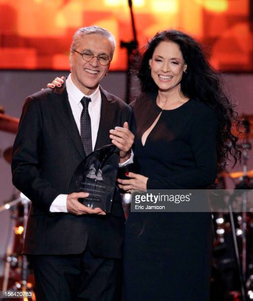 Honoree Caetano Veloso and Sonia Braga onstage during the 2012 Latin Recording Academy Person Of The Year honoring Caetano Veloso at the MGM Grand...