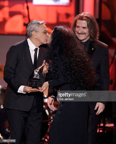 Honoree Caetano Veloso Sonia Braga and President of The Latin Recording Academy Luis Cobo onstage during the 2012 Latin Recording Academy Person Of...