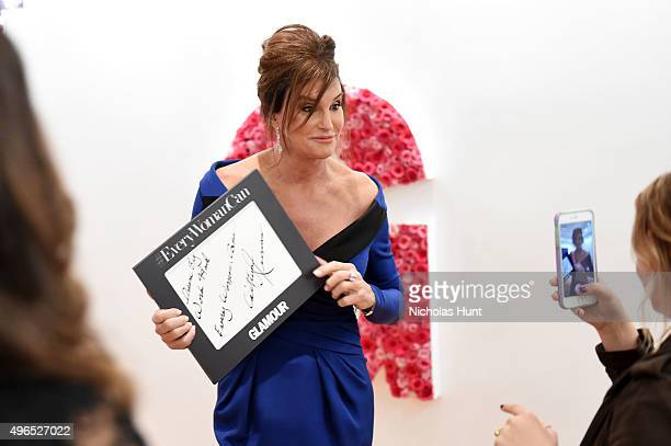 Honoree Caitlyn Jenner poses for a photo at the backstage inspiration wall at the 2015 Glamour Women of the Year Awards at Carnegie Hall on November...