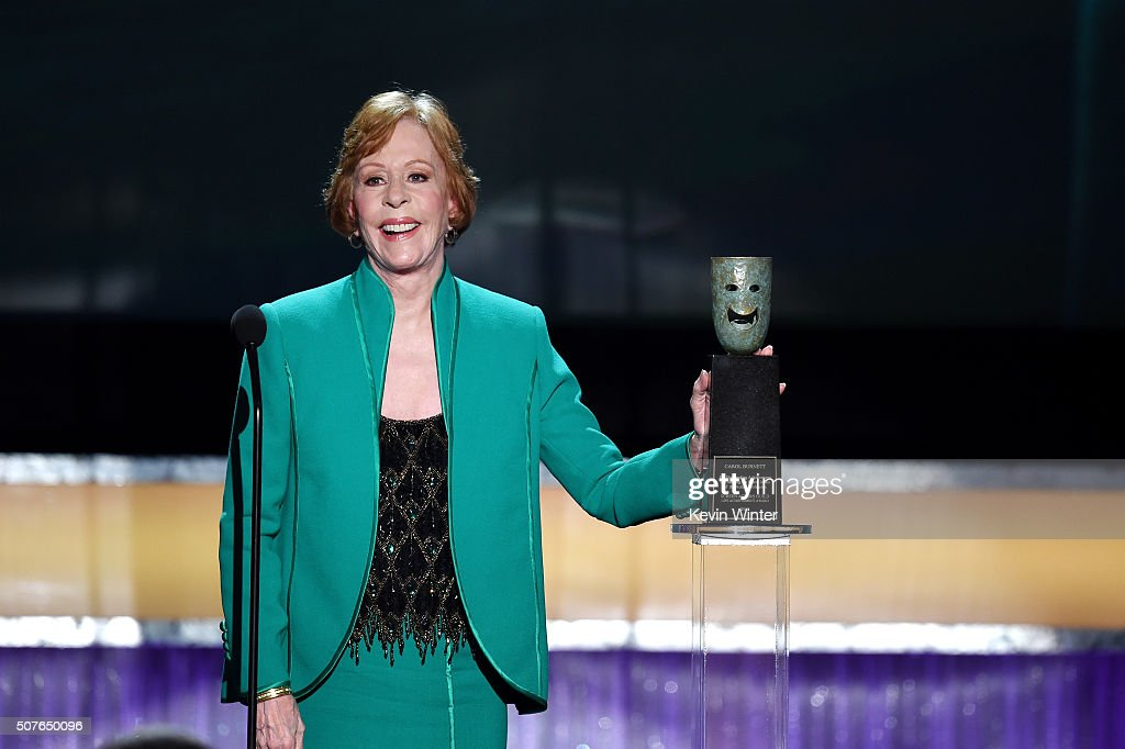 Honoree <a gi-track='captionPersonalityLinkClicked' href=/galleries/search?phrase=Carol+Burnett&family=editorial&specificpeople=206201 ng-click='$event.stopPropagation()'>Carol Burnett</a> accepts the Life Achievement Award onstage during The 22nd Annual Screen Actors Guild Awards at The Shrine Auditorium on January 30, 2016 in Los Angeles, California. 25650_021