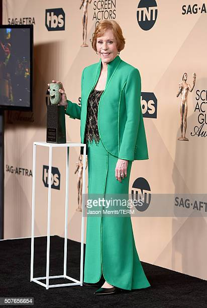 Honoree Carol Burnett poses in the press room during The 22nd Annual Screen Actors Guild Awards at The Shrine Auditorium on January 30 2016 in Los...