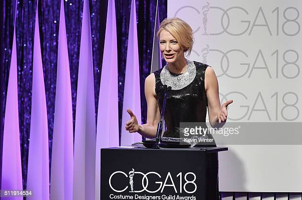 Honoree Cate Blanchett accepts the LACOSTE Spotlight Award onstage during the 18th Costume Designers Guild Awards with Presenting Sponsor LACOSTE at...