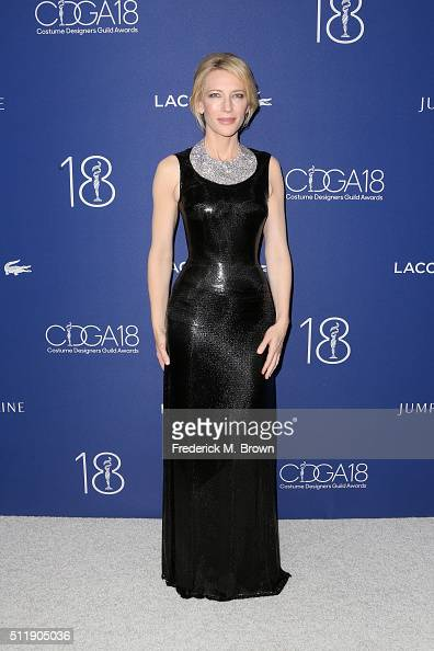 Honoree Cate Blanchett attends the 18th Costume Designers Guild Awards with Presenting Sponsor LACOSTE at The Beverly Hilton Hotel on February 23...