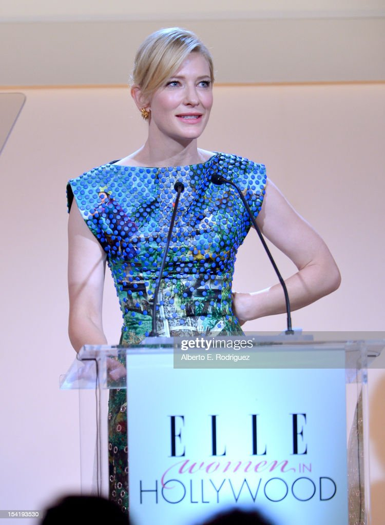 Honoree <a gi-track='captionPersonalityLinkClicked' href=/galleries/search?phrase=Cate+Blanchett&family=editorial&specificpeople=201621 ng-click='$event.stopPropagation()'>Cate Blanchett</a> speaks onstage at ELLE's 19th Annual Women In Hollywood Celebration at the Four Seasons Hotel on October 15, 2012 in Beverly Hills, California.