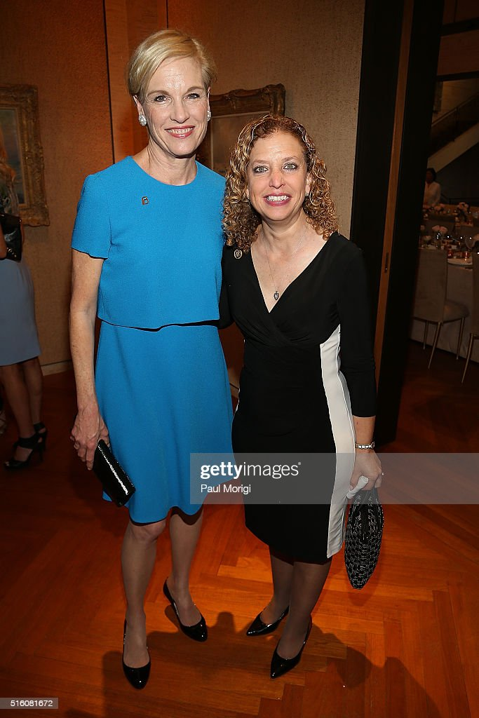 Honoree Cecile Richards (L) and Rep. Debbie Wasserman Schultz (D-FL) attend the ELLE and Hugo Boss Women in Washington Power List Dinner at the Kreeger Museum on March 16, 2016 in Washington, D.C.