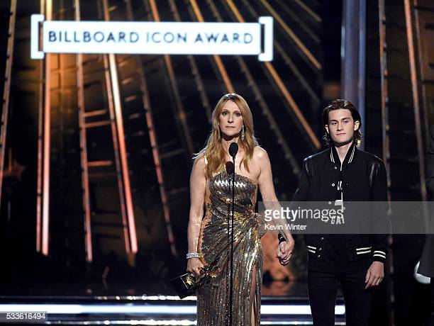 Honoree Celine Dion and Rene Charles Angelil accept the Billboard IconAward onstage during the 2016 Billboard Music Awards at TMobile Arena on May 22...
