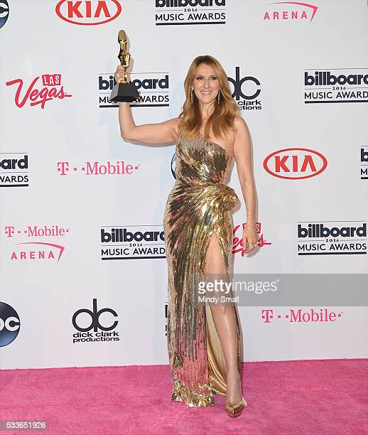Honoree Celine Dion recipient of the Icon Award poses in the press room at the 2016 Billboard Music Awards at TMobile Arena on May 22 2016 in Las...