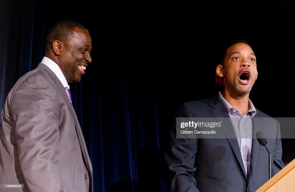 Honoree Charles 'Charlie Mack' Alston and actor <a gi-track='captionPersonalityLinkClicked' href=/galleries/search?phrase=Will+Smith+-+Actor+-+Born+1968&family=editorial&specificpeople=156403 ng-click='$event.stopPropagation()'>Will Smith</a> attends the American Benefactor Foundation 'I WILL Be Great Leaders' Ceremony honoring Charles Alston at Drexel University on July 20, 2012 in Philadelphia, Pennsylvania.