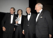 Honoree Charlie Rose BernardHenri Levy dinner cochairs Lorenzo D Weisman and John HFHaskell