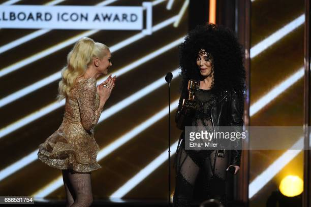 Honoree Cher accepts the Billboard Icon Award from singer Gwen Stefani onstage during the 2017 Billboard Music Awards at TMobile Arena on May 21 2017...