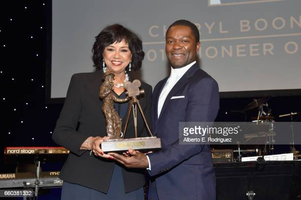 """Honoree Cheryl Boone Isaacs and actor David Oyelowo onstage at 2017 Will Rogers """"Pioneer of the Year"""" Dinner Honoring Cheryl Boone Isaacs at Caesars..."""