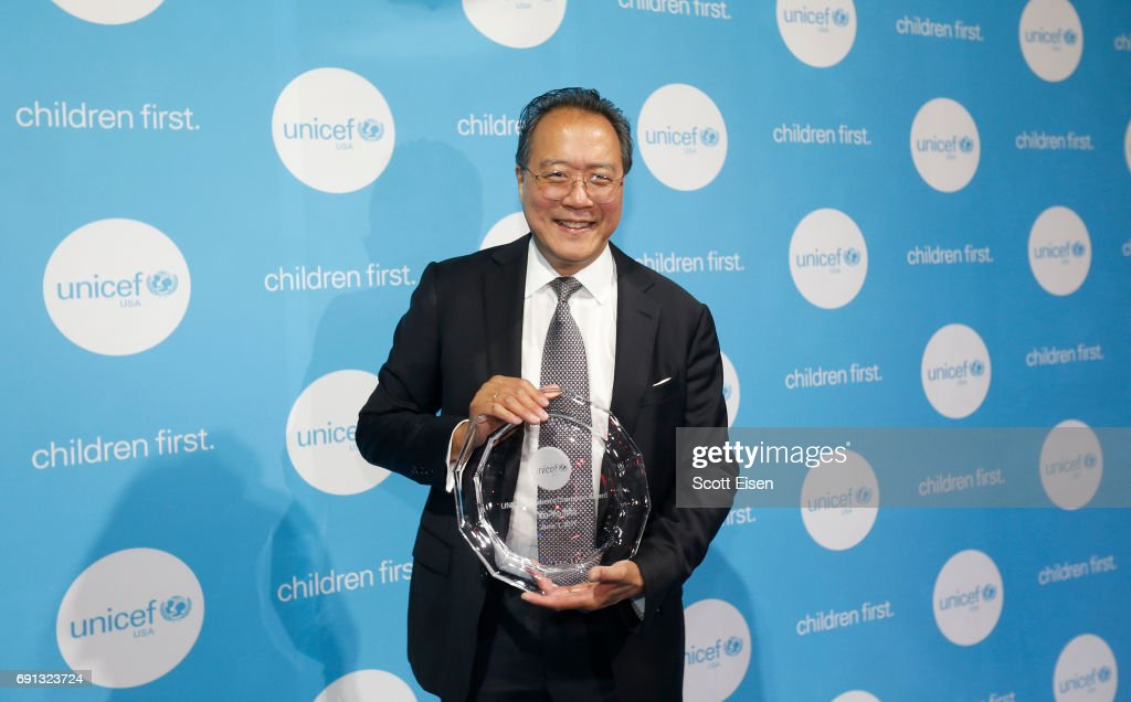 Honoree, Children's Champion Award UN Messenger of Peace, cellist Yo-Yo Ma poses with his award attends UNICEF Children's Champion Award Dinner honoring Yo-Yo Ma and Alli and Bill Achtmeyer at The Castle at Park Plaza on June 1, 2017 in Boston, Massachusetts.