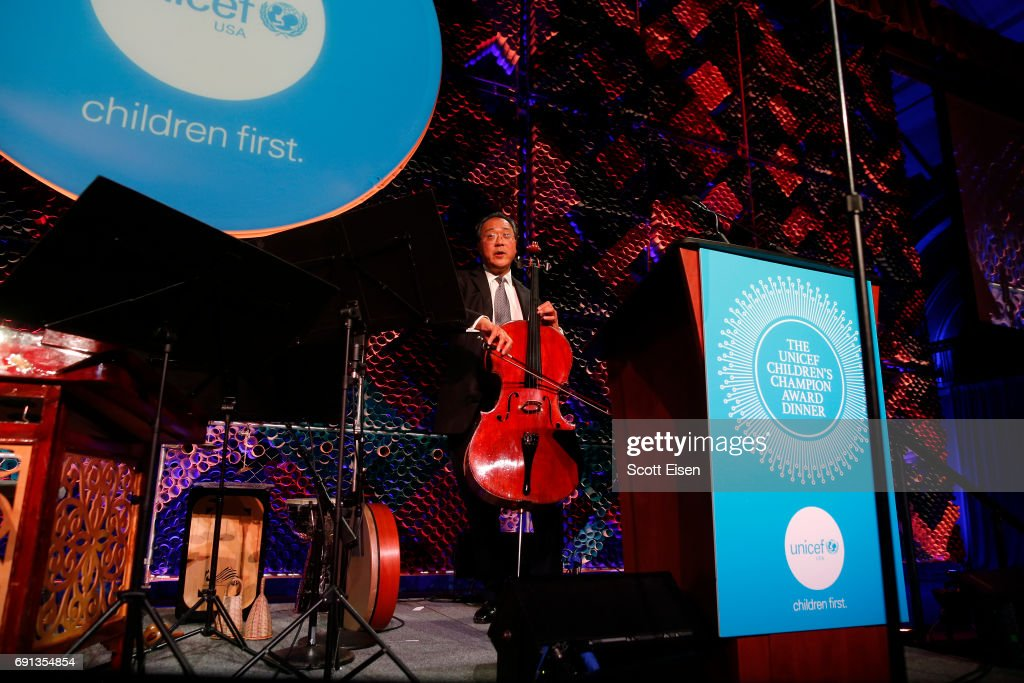 Honoree, Children's Champion Award UN Messenger of Peace Cellist Yo-Yo Ma performs on stage during UNICEF Children's Champion Award Dinner honoring Yo-Yo Ma and Alli and Bill Achtmeyer at The Castle at Park Plaza on June 1, 2017 in Boston, Massachusetts.