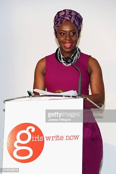 Honoree Chimamanda Ngozi Adichie speaks on stage at the Girls Write Now Awards honoring Chimamanda Ngozi Adichie Pamela Paul and Juju Chang at...