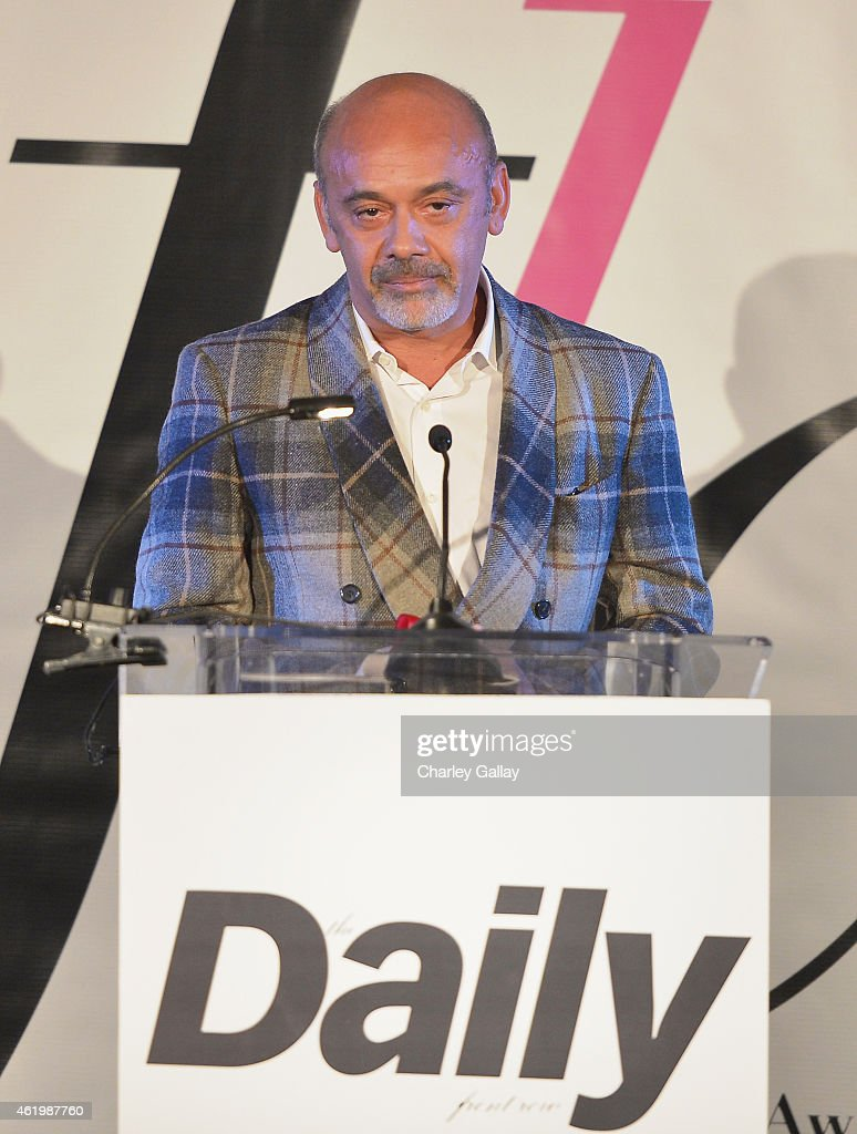 Honoree <a gi-track='captionPersonalityLinkClicked' href=/galleries/search?phrase=Christian+Louboutin+-+Fashion+Designer&family=editorial&specificpeople=4644509 ng-click='$event.stopPropagation()'>Christian Louboutin</a> accepts the award for Shoe Designer of the Year onstage during The DAILY FRONT ROW 'Fashion Los Angeles Awards' Show at Sunset Tower on January 22, 2015 in West Hollywood, California.