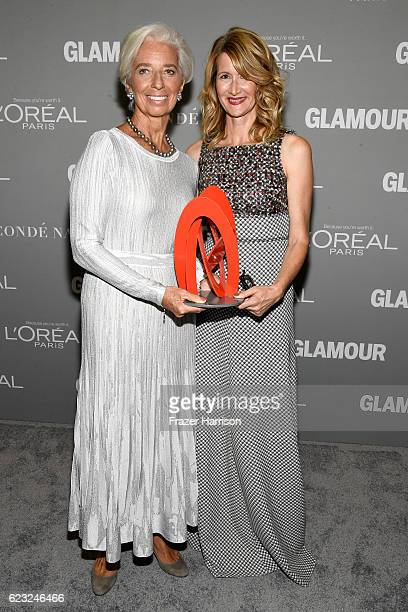 Honoree Christine Lagarde and actress Laura Dern and actress Laura Dern attend Glamour Women Of The Year 2016 at NeueHouse Hollywood on November 14...