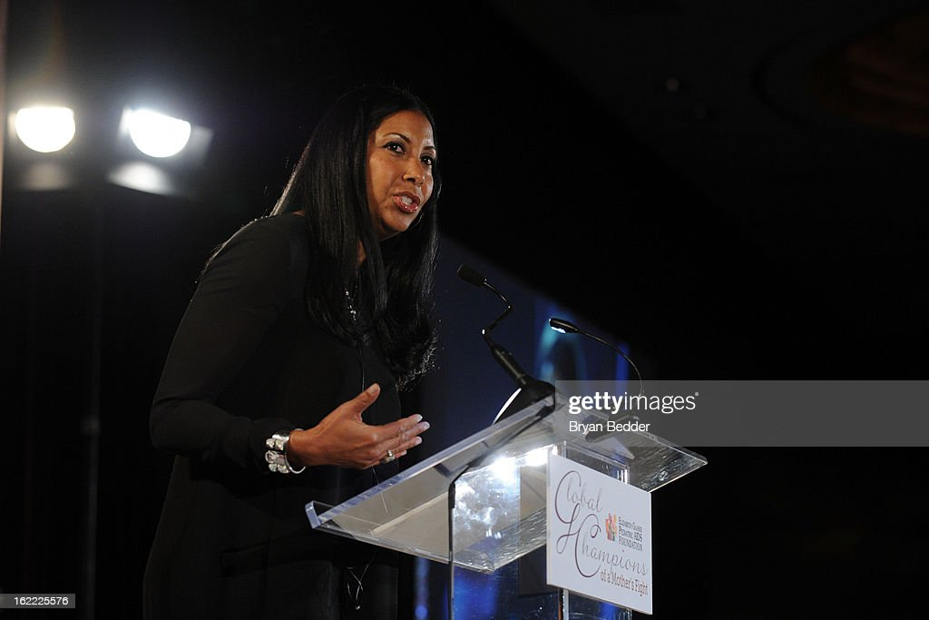 Honoree Cookie Johnson speaks onstage at the Elizabeth Glaser Global Champions of a Mothers Fight Awards Dinner at Mandarin Oriental Hotel on February 20, 2013 in New York City.