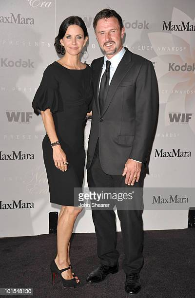 Honoree Courteney Cox Arquette and actor David Arquette arrive at the 2010 Crystal Lucy Awards A New Era at Hyatt Regency Century Plaza on June 1...