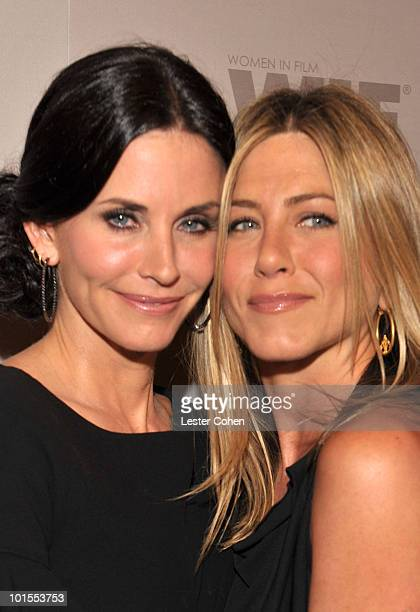 Honoree Courteney Cox Arquette and actress Jennifer Aniston arrive at the 2010 Crystal Lucy Awards A New Era at Hyatt Regency Century Plaza on June 1...