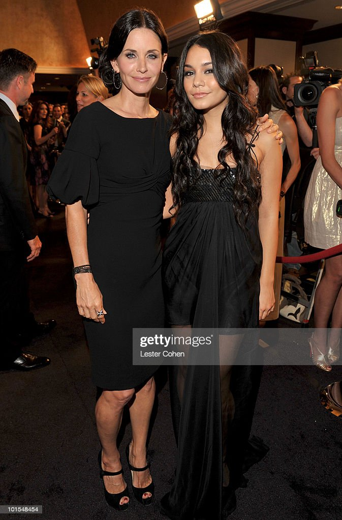 Honoree Courteney Cox Arquette and presenter Vanessa Hudgens arrive at the 2010 Crystal + Lucy Awards: A New Era at Hyatt Regency Century Plaza on June 1, 2010 in Century City, California.