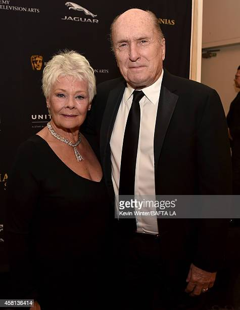 Honoree Dame Judi Dench and actor Robert Duvall attend the BAFTA Los Angeles Jaguar Britannia Awards presented by BBC America and United Airlines at...