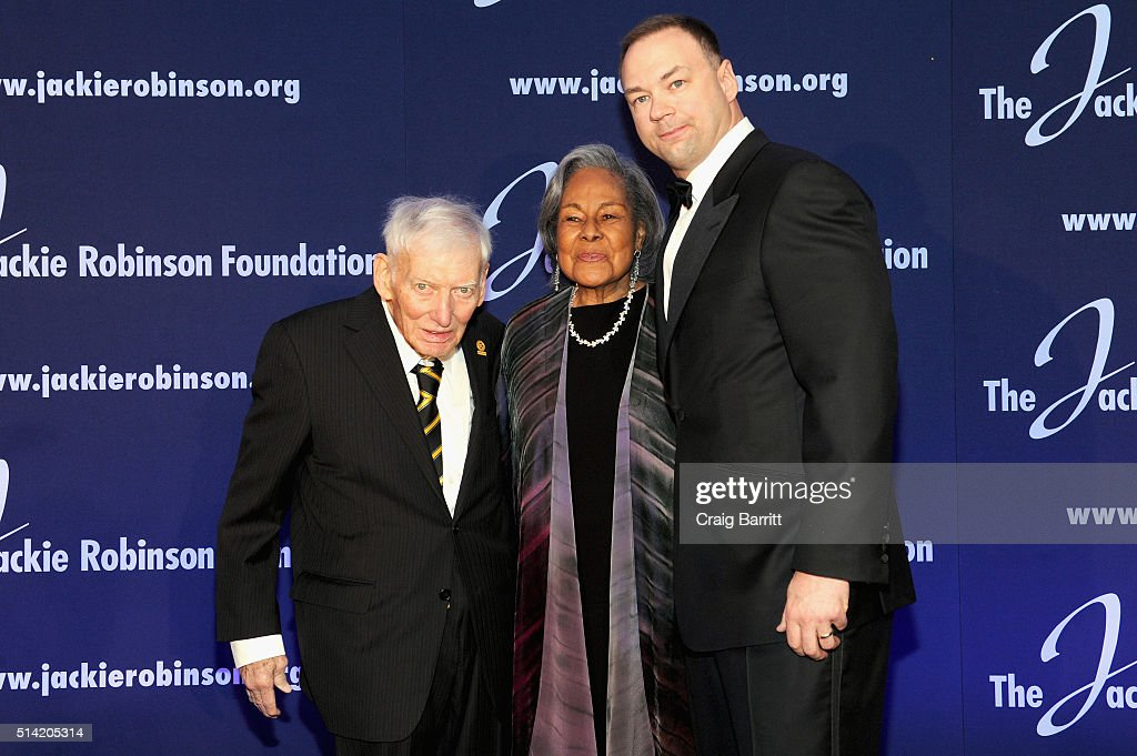 Honoree, <a gi-track='captionPersonalityLinkClicked' href=/galleries/search?phrase=Dan+Rooney&family=editorial&specificpeople=725695 ng-click='$event.stopPropagation()'>Dan Rooney</a>, Founder, <a gi-track='captionPersonalityLinkClicked' href=/galleries/search?phrase=Rachel+Robinson&family=editorial&specificpeople=93975 ng-click='$event.stopPropagation()'>Rachel Robinson</a>, and Chairman and Chief Executive Officer of Legendary Entertainment, <a gi-track='captionPersonalityLinkClicked' href=/galleries/search?phrase=Thomas+Tull&family=editorial&specificpeople=549201 ng-click='$event.stopPropagation()'>Thomas Tull</a>, attend the Jackie Robinson Foundation annual awards dinner at the Marriot Marquis Hotel on March 7, 2016 in New York City.