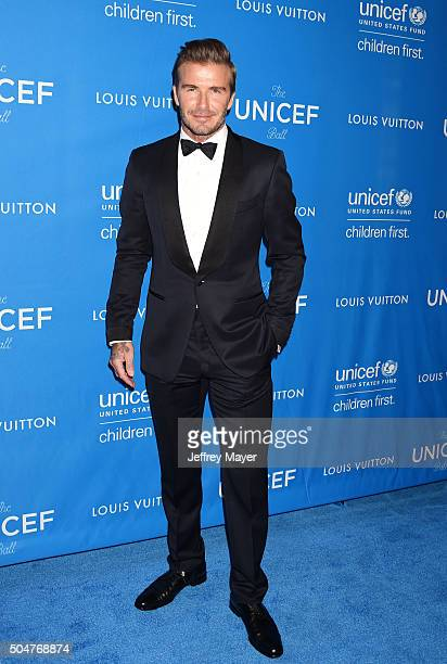 Honoree David Beckham arrives at the 6th Biennial UNICEF Ball at the Beverly Wilshire Four Seasons Hotel on January 12 2016 in Beverly Hills...