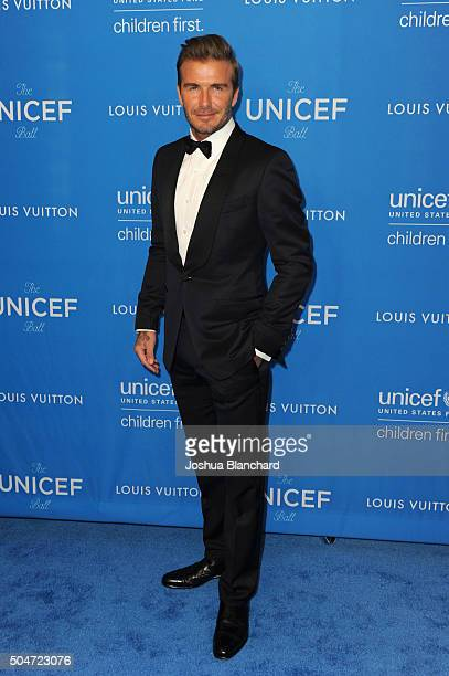 Honoree David Beckham attends the 6th Biennial UNICEF Ball at the Beverly Wilshire Four Seasons Hotel on January 12 2016 in Beverly Hills California
