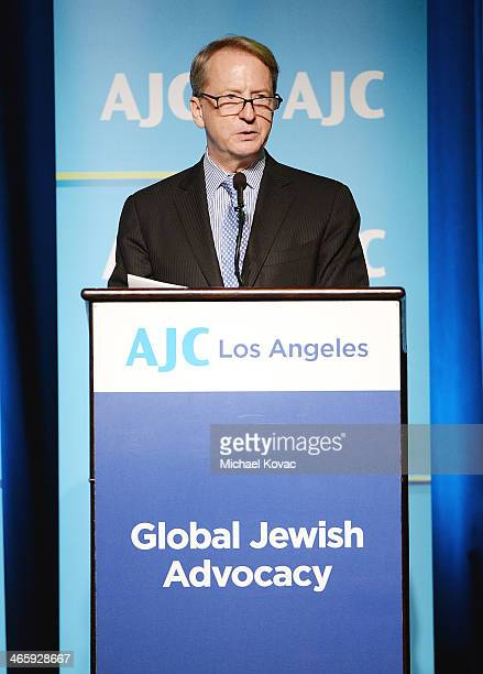 Honoree David Bohnett presents onstage at the AJC Los Angeles' Ira E Yellin Community Leadership Award honoring David Bohnett at Regent Beverly...