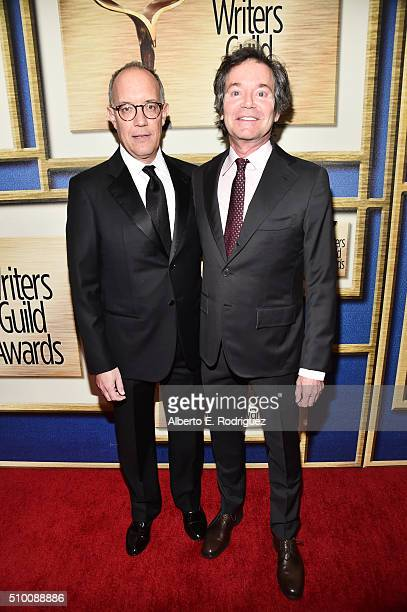 Honoree David Crane and writer Jeffrey Klarik attend the 2016 Writers Guild Awards at the Hyatt Regency Century Plaza on February 13 2016 in Los...