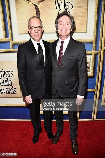 Honoree David Crane and writer Jeffrey Klarik attend the 2016 Writers Guild Awards at the Hyatt Regency Century Plaza on February 13 2016 in Los...