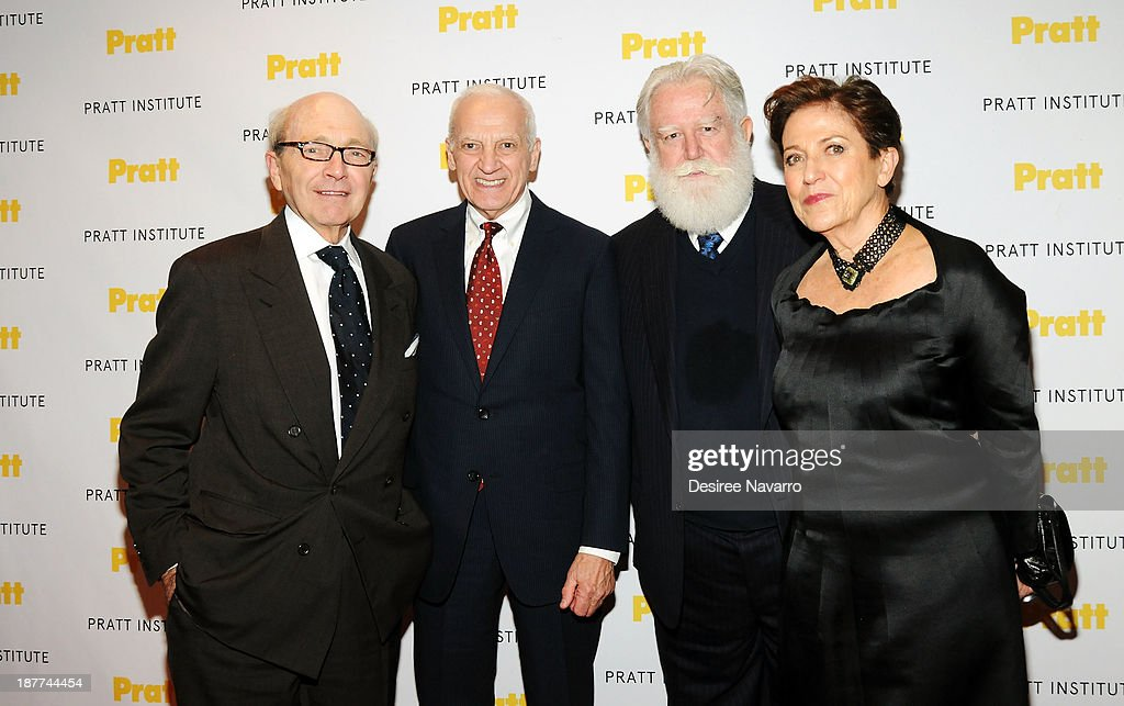 Honoree David Easton, Pratt President Thomas F. Schutte, honoree <a gi-track='captionPersonalityLinkClicked' href=/galleries/search?phrase=James+Turrell&family=editorial&specificpeople=6387764 ng-click='$event.stopPropagation()'>James Turrell</a> and Carmen Gimenez attend the 2013 Pratt Institute gala at Mandarin Oriental Hotel on November 11, 2013 in New York City.