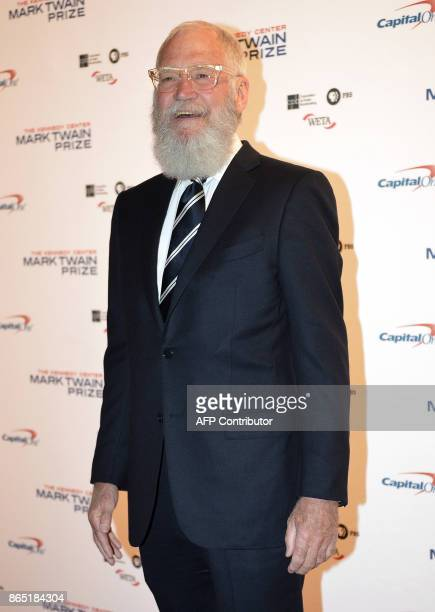 Honoree David Letterman arrives for the 20th Annual Mark Twain Prize for American Humor at the Kennedy Center in Washington DC on October 22 2017...