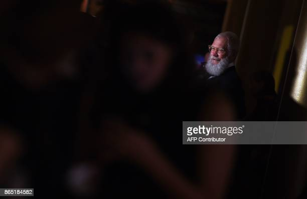 Honoree David Letterman does an interview at the 20th Annual Mark Twain Prize for American Humor at the Kennedy Center in Washington DC on October 22...