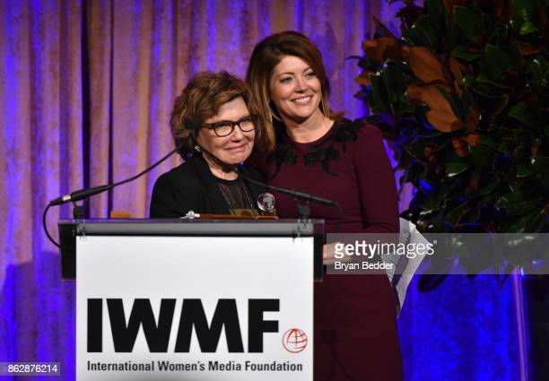 Honoree Deborah Amos and Norah O'Donnell onstage at The International Women's Media Foundation's 28th Annual Courage In Journalism Awards Ceremony at...