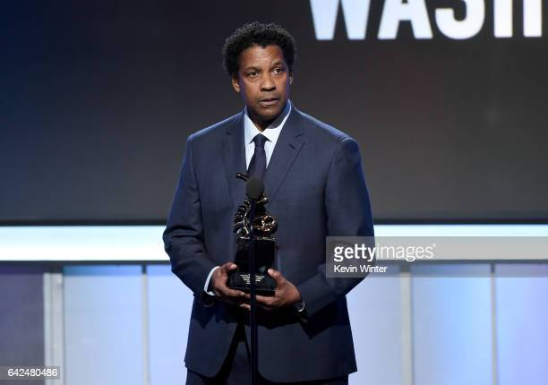 Honoree Denzel Washington accepts the Hollywood Legacy Award onstage during BET Presents the American Black Film Festival Honors on February 17 2017...