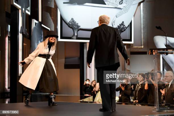 Honoree Diane Keaton and DirectorActor Woody Allen onstage at American Film Institute's 45th Life Achievement Award Gala Tribute to Diane Keaton at...