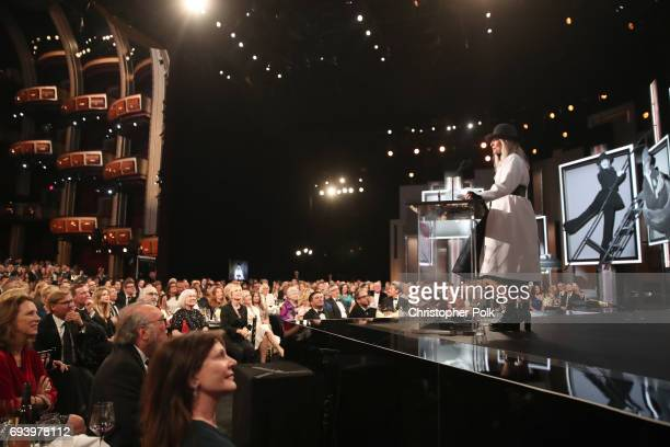Honoree Diane Keaton speaks onstage during American Film Institute's 45th Life Achievement Award Gala Tribute to Diane Keaton at Dolby Theatre on...