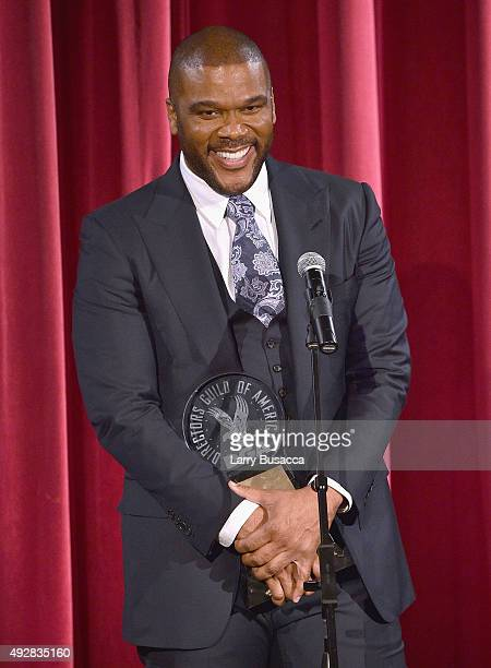 Honoree Director Tyler Perry pose with award at the DGA Honors 2015 Gala on October 15 2015 in New York City