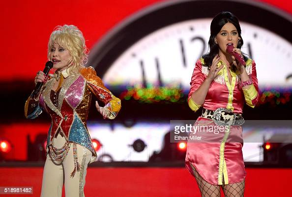 Honoree Dolly Parton and recording artist Katy Perry perform onstage during the 51st Academy of Country Music Awards at MGM Grand Garden Arena on...