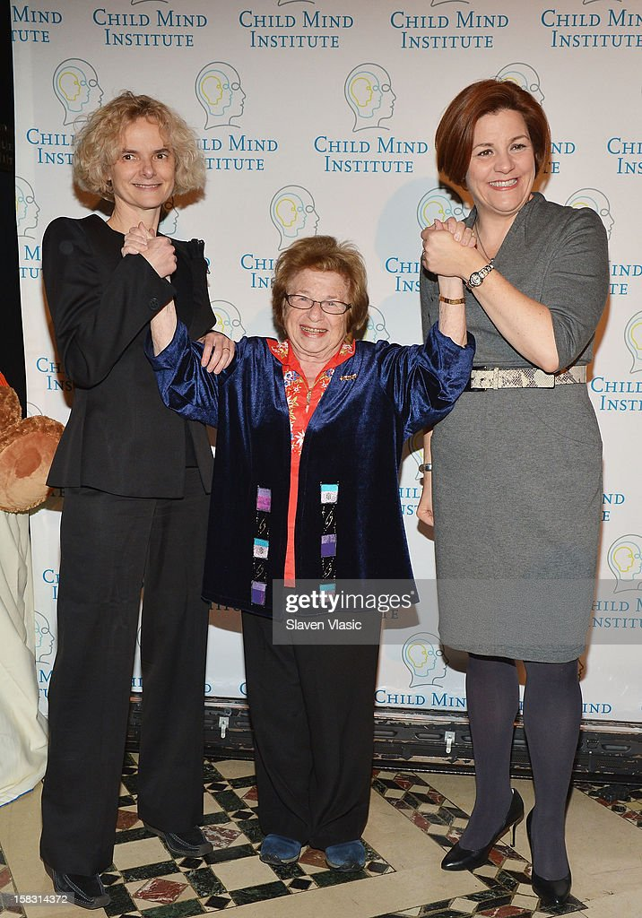 Honoree Dr. Nora Volkow, Dr. Ruth Westheimer and Christine Quinn attend Child Mind Institute's 3rd Annual Child Advocacy Award Dinner at Cipriani 42nd Street on December 12, 2012 in New York City.