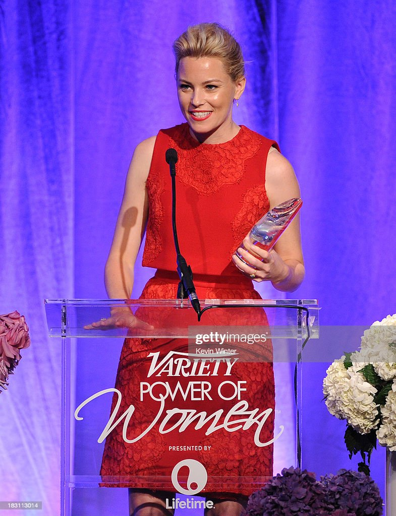 Honoree Elizabeth Banks accepts an award onstage during Variety's 5th Annual Power of Women event presented by Lifetime at the Beverly Wilshire Four Seasons Hotel on October 4, 2013 in Beverly Hills, California.