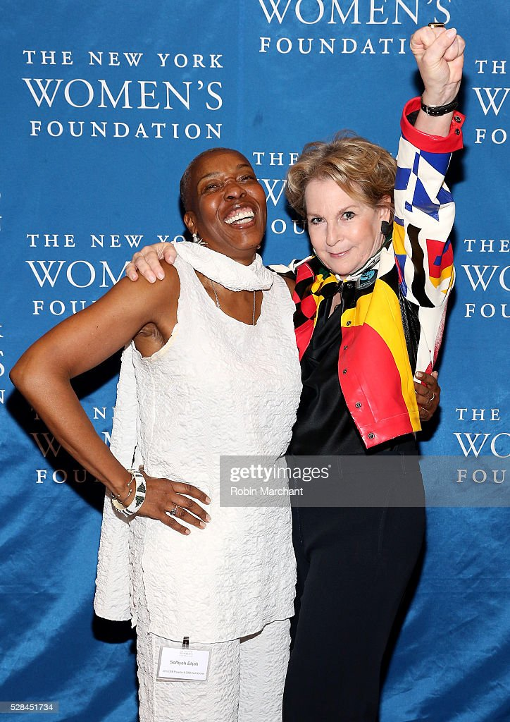 Honoree Elizabeth Sackler and Executive director of Correctional Association Soffiyah Elijah attend The New York Women's Foundation's 2016 celebration womens breakfast on May 5, 2016 in New York City.