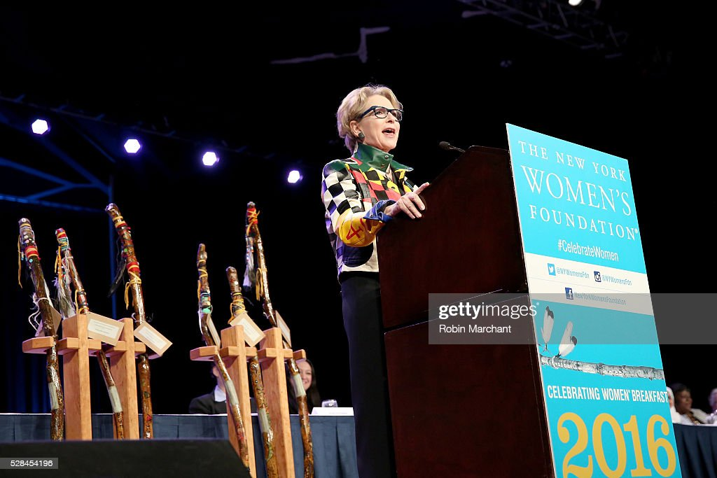 Honoree Elizabeth Sackler speaks onstage during The New York Women's Foundation's 2016 celebration womens breakfast on May 5, 2016 in New York City.